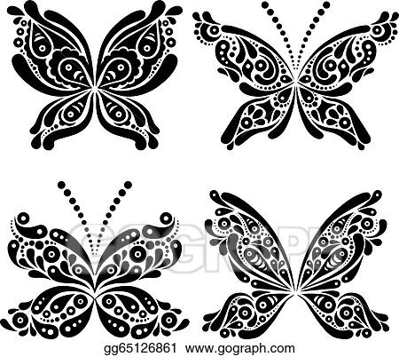 efaab60e46c1a Vector Illustration - Set of beautiful black and white butterfly ...