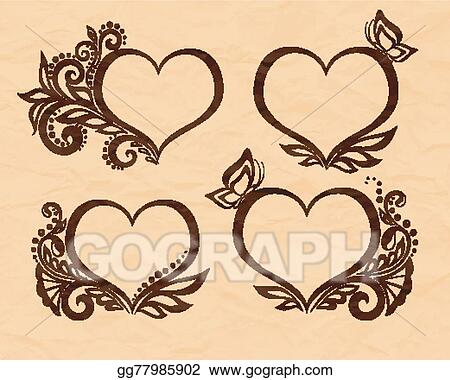 Vector clipart set of beautiful black and white symbol of a heart set of beautiful black and white symbol of a heart with floral design and butterfly perfect for background greeting cards and invitations to the day of the m4hsunfo