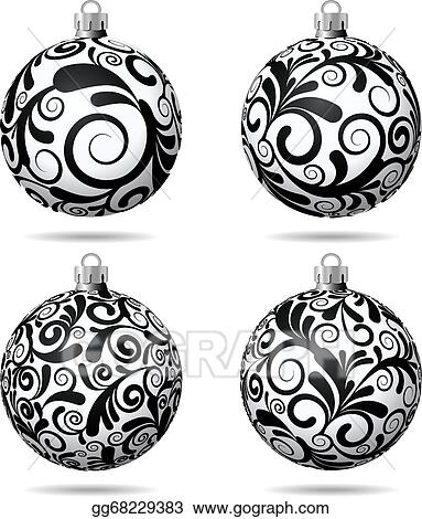 Christmas Balls Clipart Black And White.Eps Vector Set Of Black And White Christmas Balls Stock
