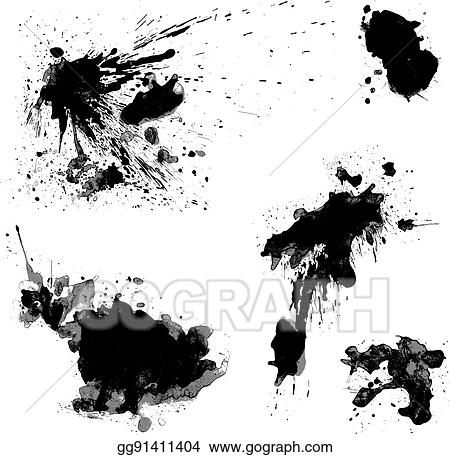 Vector Clipart Set Of Black Blots And Ink Splashes
