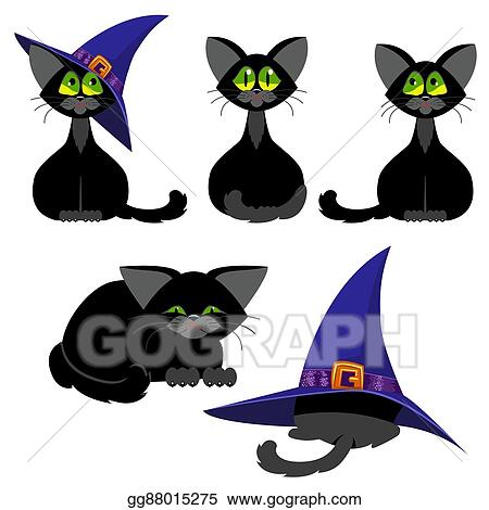 11bd683f Clip Art Vector - Set of black cats in various poses. a cat in a lilac hat  witch. the cat is sleeping. cartoon halloween. Stock EPS gg88015275