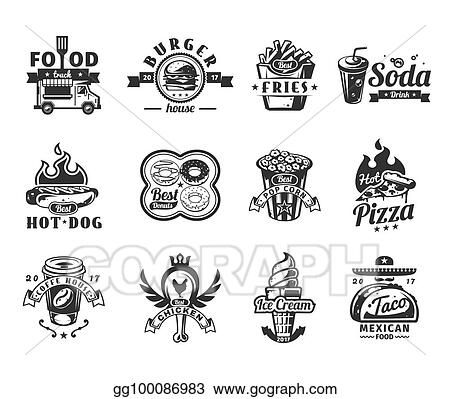 Drawings Set Of Black Fast Food Icons Badges Stock