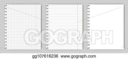 vector art set of blank copy book sheets with torn edges mockup