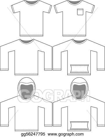 Blank Tshirt Template | Vector Clipart Set Of Blank Shirt Templates Vector Illustration