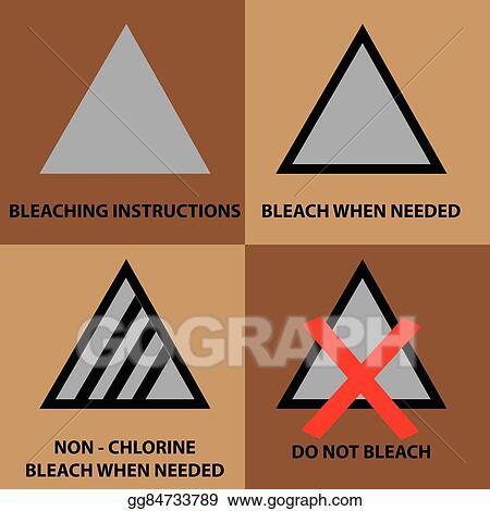 Vector Illustration Set Of Bleaching Instruction Symbol Stock
