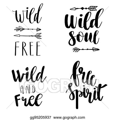 Vector Art Set Of Boho Style Lettering Quotes And Hand Drawn