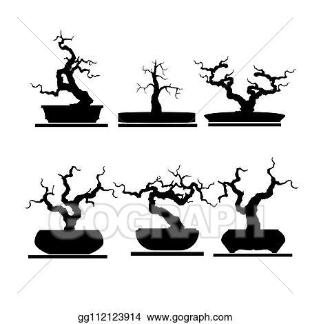 Vector Illustration - Set of bonsai tree  EPS Clipart