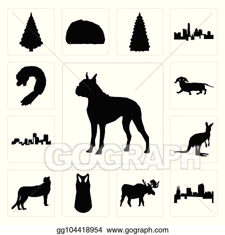 0fedf32ca0aed Vector Illustration - Set of boxer outline on white background ...
