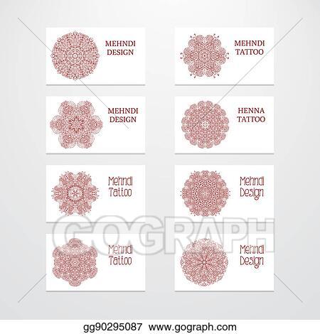 Clip Art Set Of Business Card Templates Mehndi Design Stock