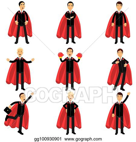 Vector Art - Set of business man character in classic black