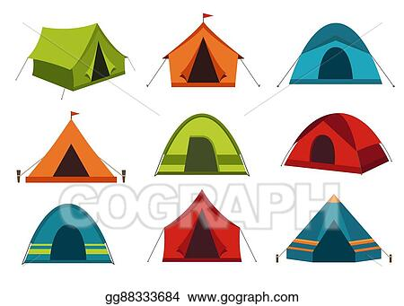 Set Of Camping Tent Vector Icons Isolated On White Background