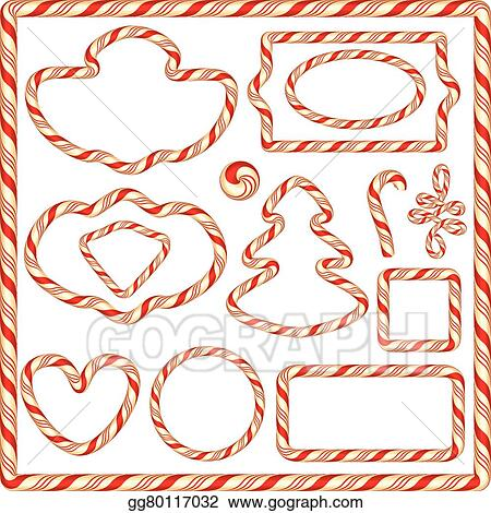 set of candy frames and borders elements for winter holidays design isolated on white background merry christmas and happy new year theme