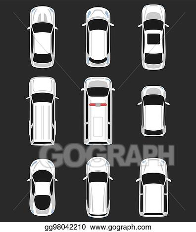 Vector Art Set Of Cars Top View Clipart Drawing Gg98042210 Gograph