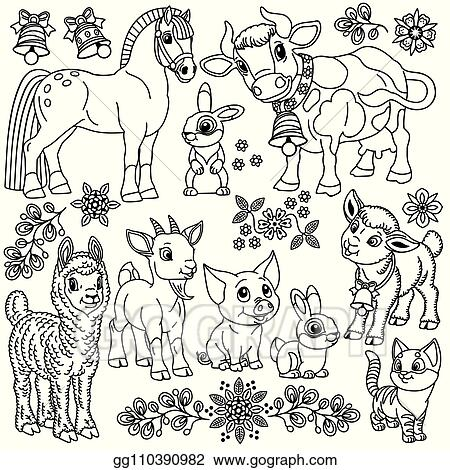 Cartoon Cute Farm Animals Collection 2 Stock Illustration - Illustration of  swallow, farm: 111729500