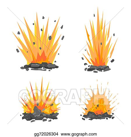 Drawings Set Of Cartoon Ground Explosions Stock Illustration Gg72026304 Gograph