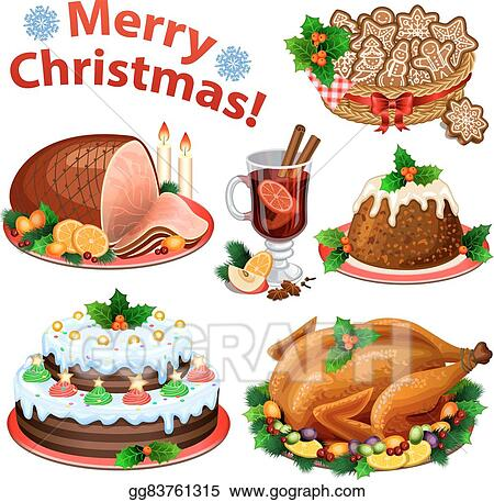 Set Of Cartoon Icons For Christmas Dinner Traditional Food And Desserts Roast Turkey Ham Pie Pudding Mulled Wine