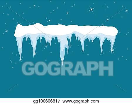 clip art vector set of cartoon snow design element on blue