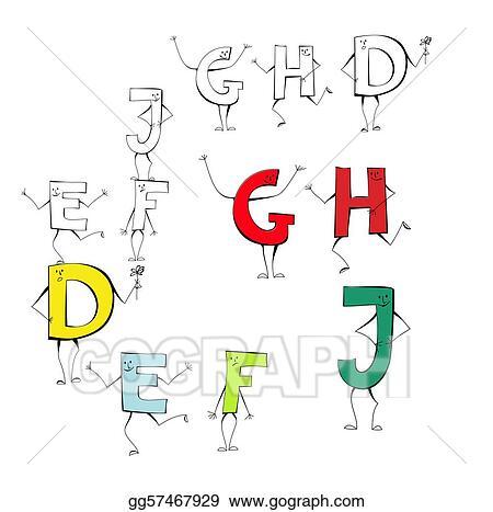 Set Of Cartoon Style Letters E F J G H D