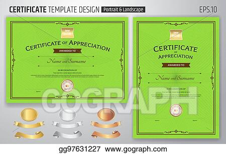 Vector Stock Set Of Certificate Of Appreciation Template With