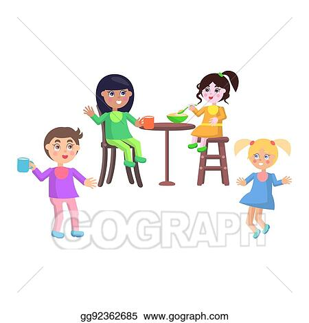 Vector Art - Set of children characters  happy mother day