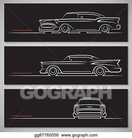 Vector Art Set Of Classic Car Silhouettes In American Style Eps