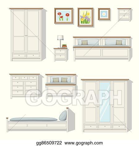 Vector Art - Set of classical bedroom furniture. EPS clipart ...