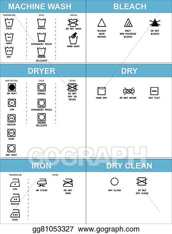 Vector Stock Set Of Clothing Care Symbols Clipart Illustration