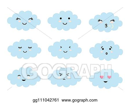 EPS Vector - Set of cloud shaped emoji with different mood