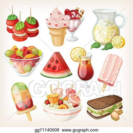 Food summer. Stock illustrations set of