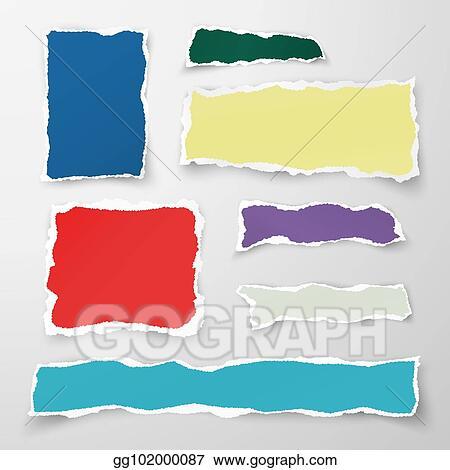 Eps Vector Set Of Color Torn Paper Pieses Scrap Paper Vector