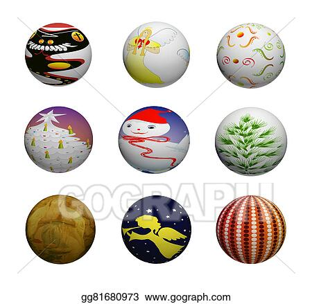Colorful Christmas Ornaments Drawings.Drawing Set Of Colorful Christmas Decorations Generated
