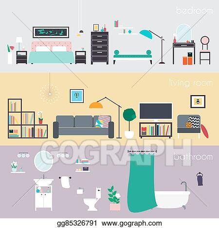 Set Of Colorful Vector Interior Design House Rooms With Furniture Icons Living Room Bedroom And Bathroom Home Accessories