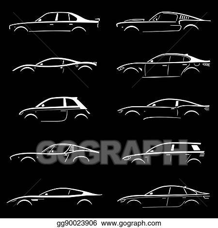 Clip Art Vector Set Of Concept Car Silhouette Stock Eps