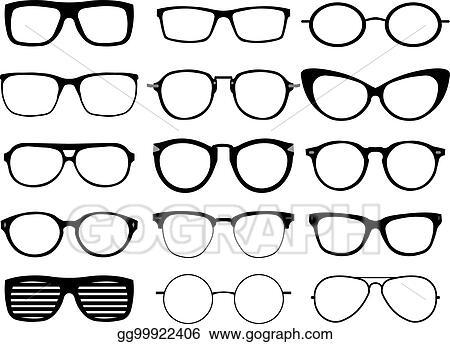 6e2bafeaf9d Vector Illustration - Set of custom glasses isolated on white ...
