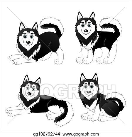 Vector Art Set Of Cute Cartoon Dogs Husky Clipart Drawing