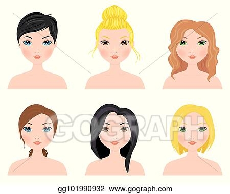 Vector Art Set Of Cute Girls With Different Hairstyles Clipart