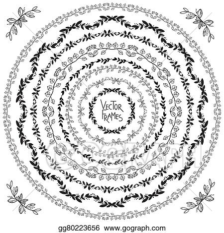 vector illustration set of decorative floral round frames and corner elements stock clip art gg80223656 gograph https www gograph com clipart license summary gg80223656