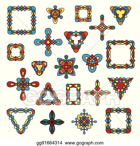 Vector Art - Set of different ethnic signs and frames. EPS clipart ...