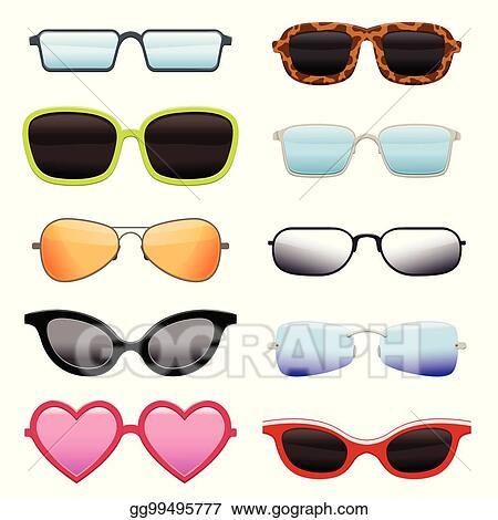 09105d97635f Clip Art Vector - Set of different sun glasses. Stock EPS gg99495777 ...