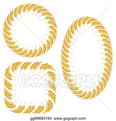 Stock Illustration - Set of different wheat frames isolated. Clipart ...
