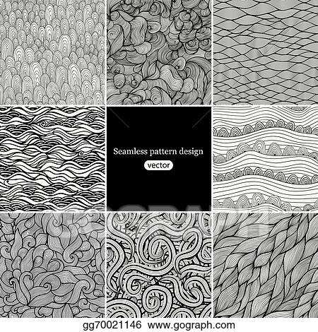 Vector Stock Set Of Eight Black And White Wave Patterns