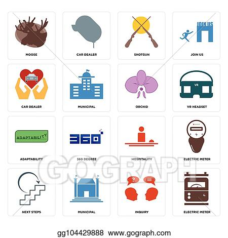 vector art set of electric meter inquiry next steps hospitality