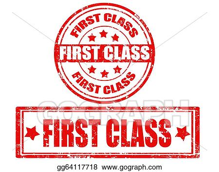 Vector Illustration - Set of first class stamps  Stock Clip Art