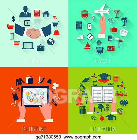 Set Of Flat Design Backgrounds For Education Business Travel And Shopping Vector Illustration