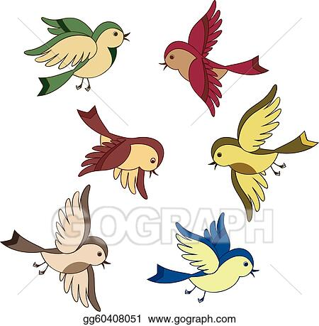 vector art set of flying bird cartoon clipart drawing gg60408051 rh gograph com flying birds clipart black and white flying birds clipart