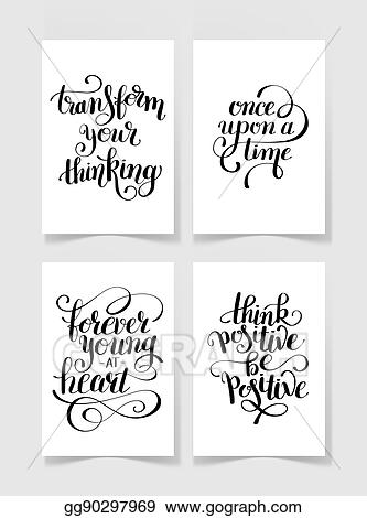 Eps Illustration Set Of Four Black And White Handwritten Lettering