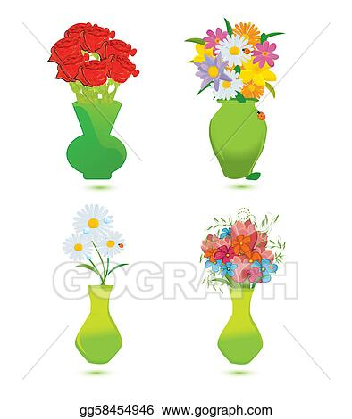 Vector Art Set Of Four Flower Vase Vector Illustration Clipart