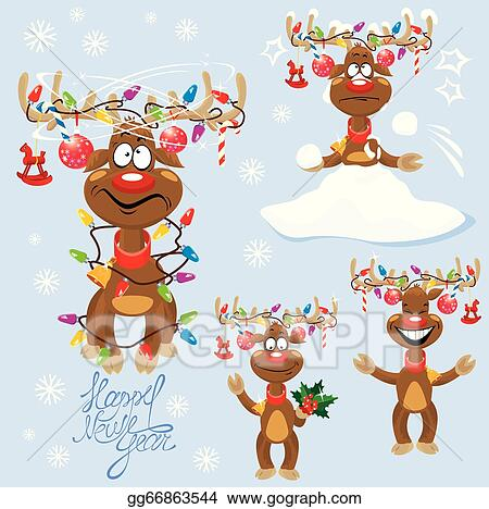 Christmas Lights Cartoon.Vector Art Set Of Four Funny Rein Deers With Christmas