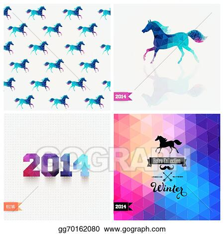 set of four new year symbols blue horsevector retro supply hipster background retro styled badge signs banner horse backdrop geometric triangle