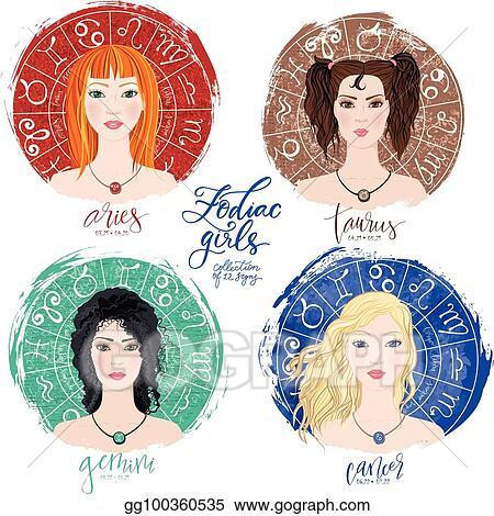 Clip Art Vector - Set of four zodiacs- aries, taurus, gemini and